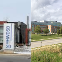 Side by side shots of HWDSB and the YCDSB offices