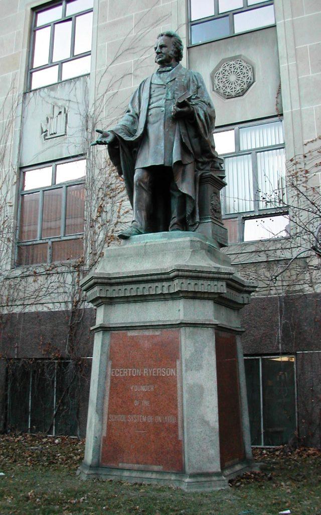 Egerton Ryerson statute (Creative Commons CC BY-SA 2.5 Image by PFHLai, (c) 2005) via Wikipedia